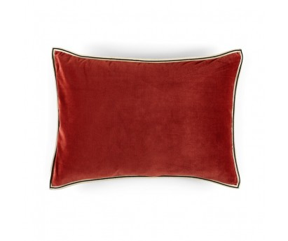 Coussin Aristote velours - finition sergé brodé contrasté- Papaye- 40x55cm