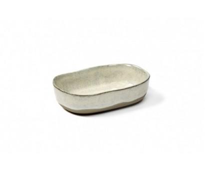 ASSIETTE  PROFONDE MERCI N°8 S | 9.8cm x 6.5cm H2.5cm | BLANC CASSE
