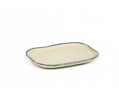 ASSIETTE RECTANGULAIRE MERCI N°3 - M - BLANC CASSE - 14,5x10,5cm