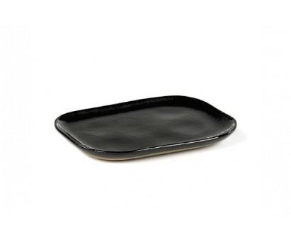 ASSIETTE RECTANGULAIRE MERCI N°3 | M | 14,5cm x 10,5 cm H1.4cm | BLEU FONCE