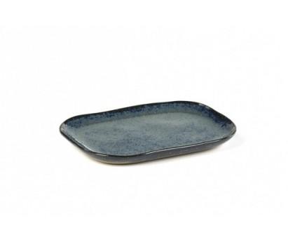 ASSIETTE RECTANGULAIRE MERCI N°3 | M | 14,5cm x 10,5 cm H1.4cm | BLEU/GRIS