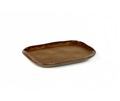 ASSIETTE RECTANGULAIRE MERCI N°3 | M | 14,5cm x 10,5 cm H1.4cm | OCRE BRUN