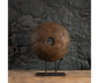 POULIE ANCIENNE EN BOIS SOCLE MÉTAL - 40 CM