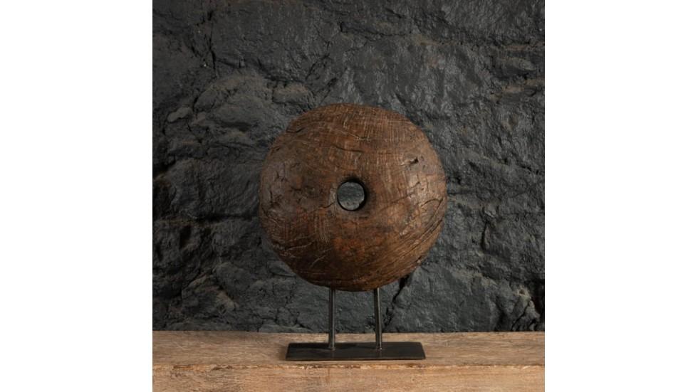 POULIE ANCIENNE EN BOIS - SOCLE MÉTAL - 40CM