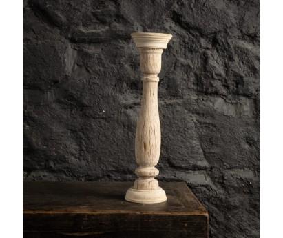 Bougeoir ancien en bois clair - hauteur 45 cm