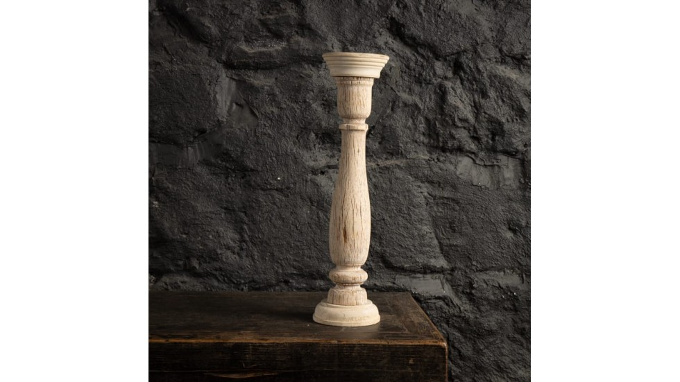 BOUGEOIR ANCIEN EN BOIS CLAIR - 45cm