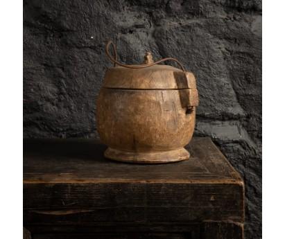 BOITE ALIMENTAIRE ANCIENNE   PIECE UNIQUE    Ø 18cm x H 20cm