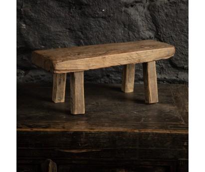 MINI TABOURET ÉCOLIER EN ORME ANCIEN - 38cm
