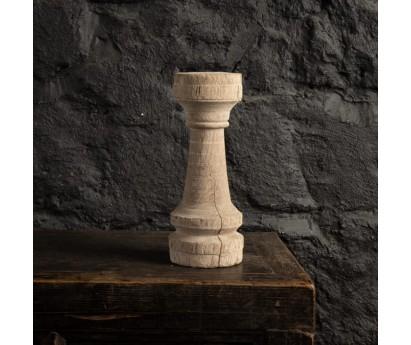 BOUGEOIR EN TECK BLANCHI | H31cm