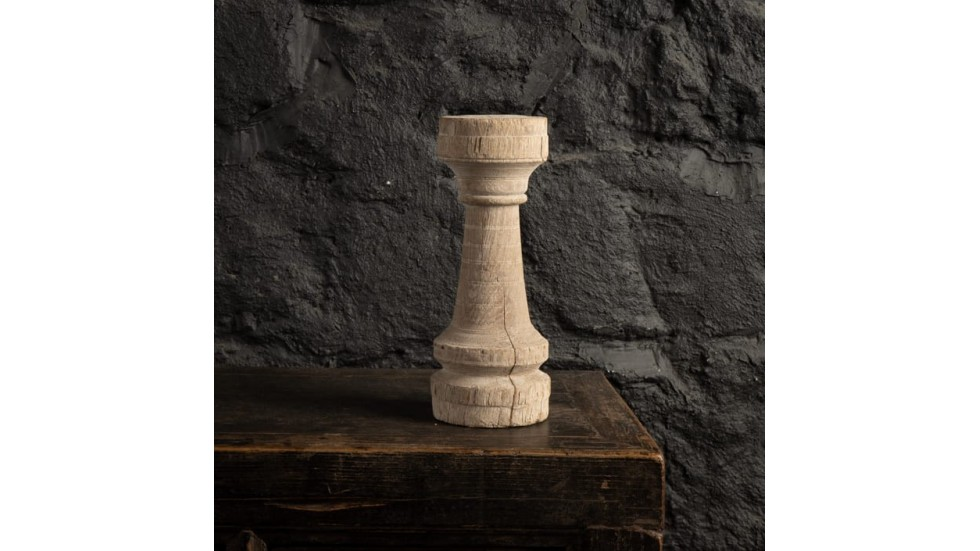 BOUGEOIR EN TECK BLANCHI - 31cm