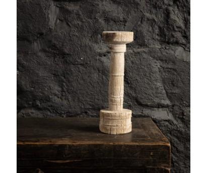 BOUGEOIR EN TECK BLANCHI | H33cm
