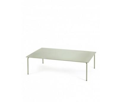 TABLE BASSE AUGUST   120cm x 80cm x H35cm   ALUMINIUM   EUCALYPTUS
