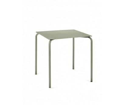 TABLE DE REPAS AUGUST   75cm x 75cm x H73,5cm   ALUMINIUM   EUCALYPTUS