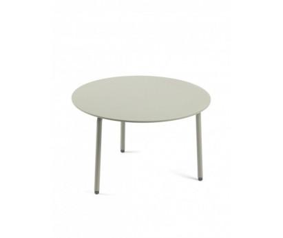 TABLE D'APPOINT AUGUST L   Ø50cm x H30cm   ALUMINIUM   EUCALYPTUS