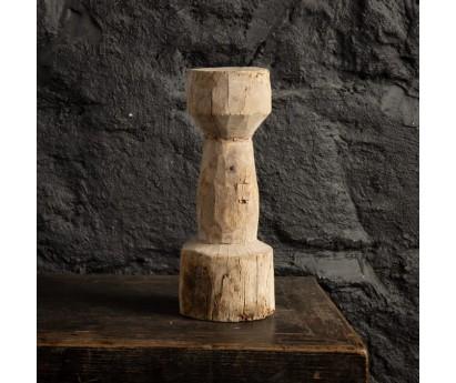 BOUGEOIR EN TECK BLANCHI - INDE - 31cm