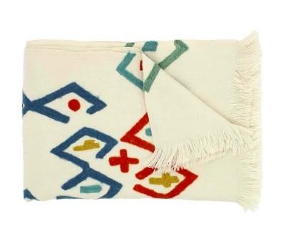 Plaid Drawi brodé en laine Mérinos- 140x220 cm