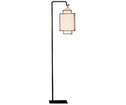 LAMPADAIRE ION - ABAT-JOUR BLANC BIAIS NOIR - 150cm