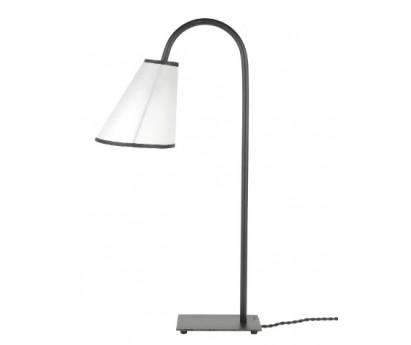 LAMPE A POSER ELLA - ABAT-JOUR BLANC BIAIS NOIR - 55cm
