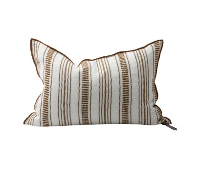COUSSIN VICE VERSA TOILE BRODÉE CYCLADES - RAYURES FINES - HAVANE