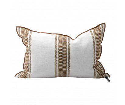 COUSSIN VICE VERSA TOILE BRODÉE CYCLADES - RAYURES LARGES - HAVANE - 40x60cm