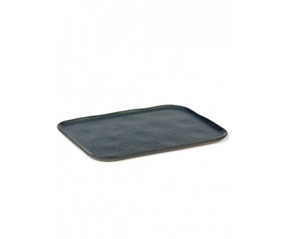 ASSIETTE RECTANGULAIRE MERCI N°1 XL-BLANC CASSE- 32X23 cm
