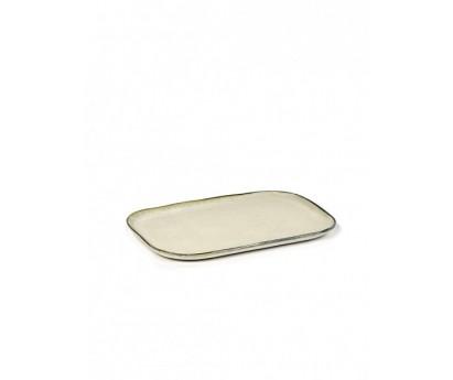 ASSIETTE RECTANGULAIRE MERCI N°1 XL-BLANC CASSE- 23x15 cm