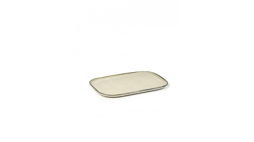 ASSIETTE RECTANGULAIRE MERCI N°1 L-BLANC CASSE- 23x15 cm