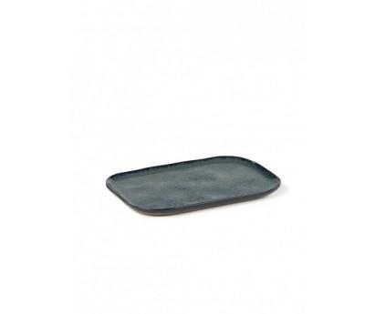 ASSIETTE RECTANGULAIRE MERCI N°1 XL-OCRE- 23x15 cm
