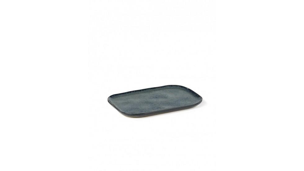 ASSIETTE RECTANGULAIRE MERCI N°1 L-BLEU GRIS- 23x15 cm