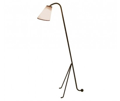 LAMPADAIRE LIX - ABAT-JOUR BLANC BIAIS NOIR - 114cm