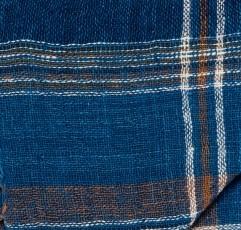 PLAID HOM CARAVANE EN COTON-CARREAUX ROUILLE ET INDIGO4-180X180 CM