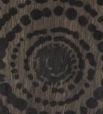PLATEAU ROND EN BOIS FLOTTÉ - 48cm x 4cm - MOTIF CERCLE NOIR